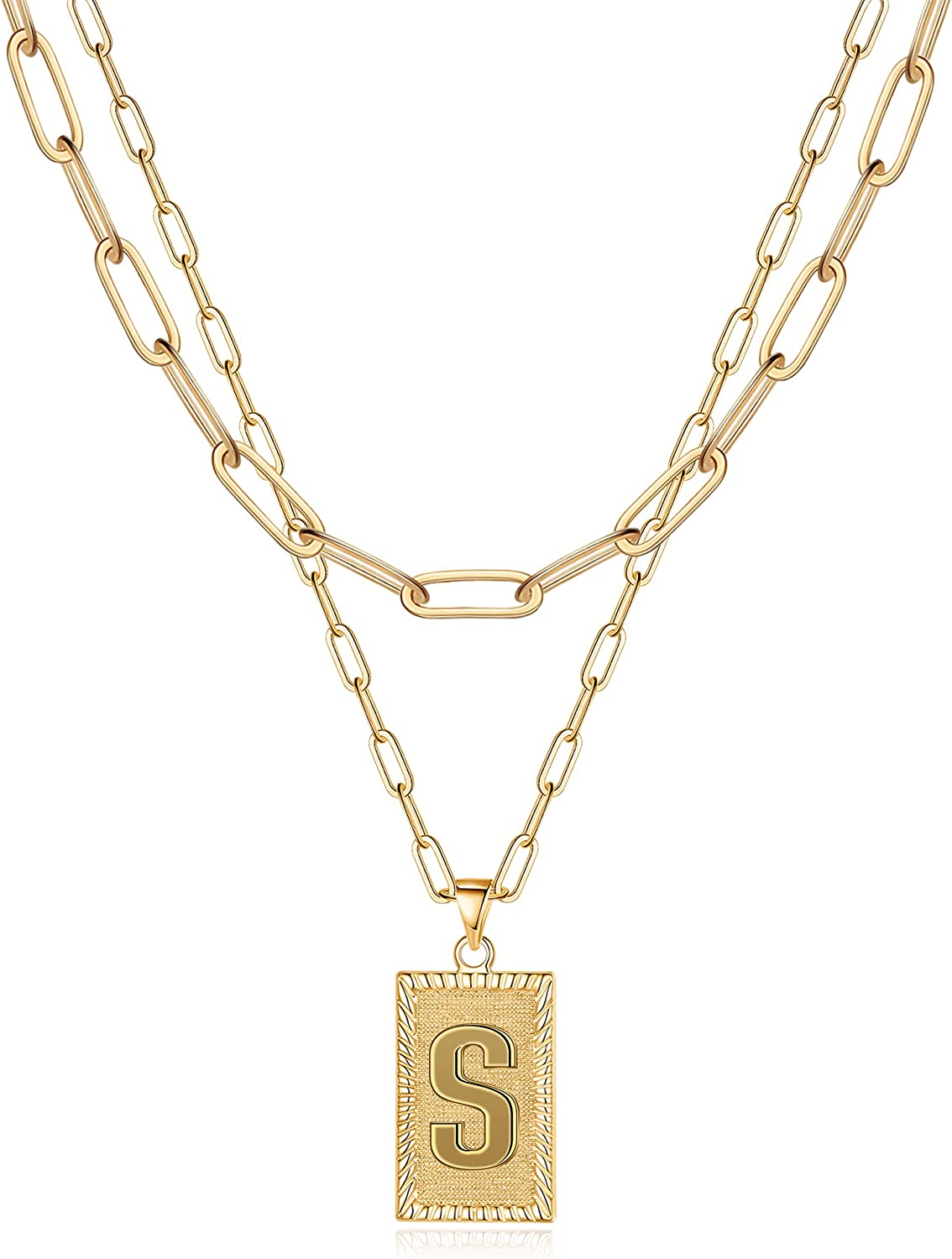 Layered Gold Initial Necklaces for Women, 14K Gold Plated Layering Paperclip Chain Necklace Square Capital Letter Pendant Initial Choker Necklace Gold Layered Necklaces for Women Jewelry Gifts