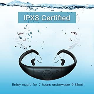 Tayogo 8GB Waterproof MP3 Player, Bluetooth Swimming Headphone Underwater 10FT with FM APP Flash Drive for Swimming Running Riding Walking Spa, with Shuffle Feature - Black
