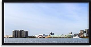 Crisco 1492 Skyline Detroit City Michigan Panorama foto vänster inramad väggkonst tryck lång 25 x 30 cm