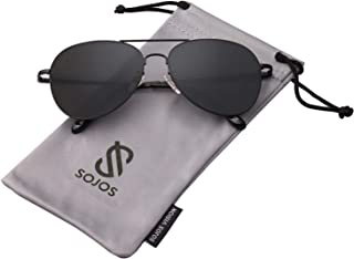 db45228d4 SOJOS Classic Aviator Mirrored Flat Lens Sunglasses Metal Frame with Spring  Hinges SJ1030