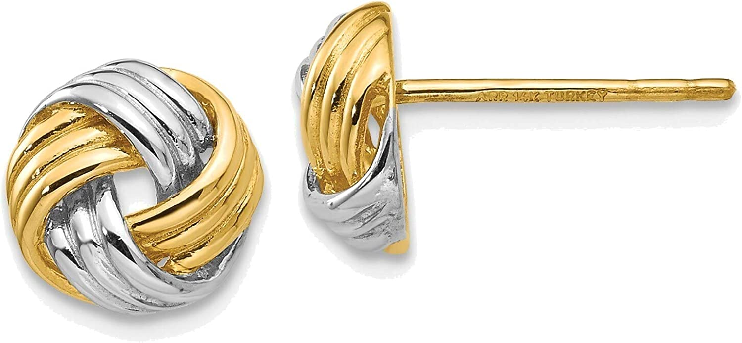 and Rhodium Polished Love Knot Post Earrings in 14K Yellow Gold with Rhodium Plating