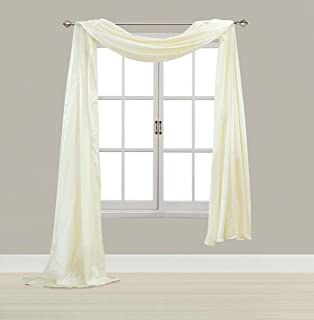 EliteHomeProducts Satin Window Scarf,Swag Valance, Fully Stitched & Hemmed (Ivory, 55
