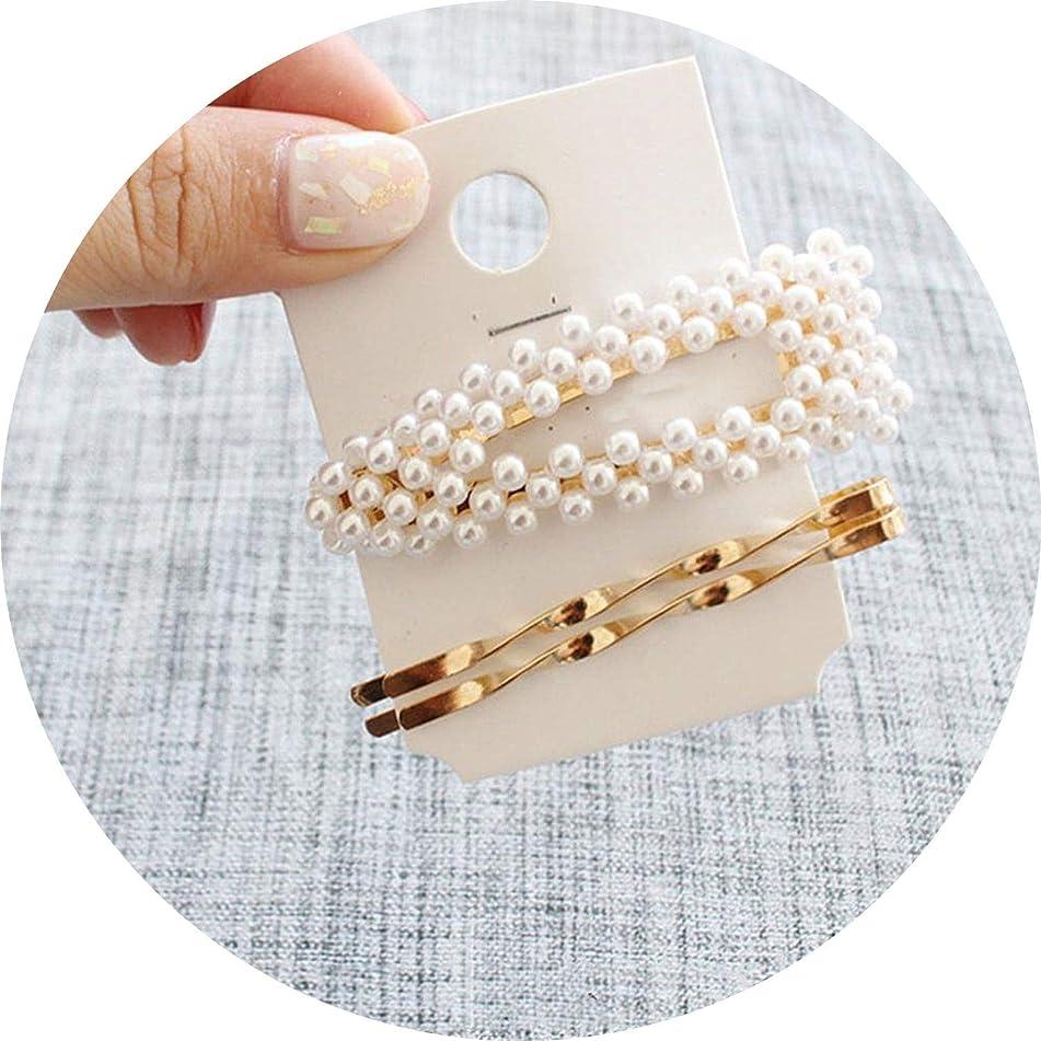 1Set Women Girl Fashion Imitiation Pearls Geometric Gold Vintage Hair Clips Hairpin Barrettes Hair Accessories,Fja005H