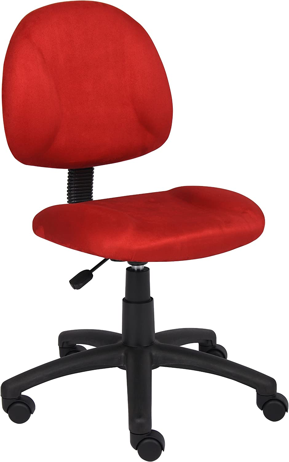 Boss Office Products Perfect Posture Delubye Modern Microfiber Home Office Chair without Arms, Red