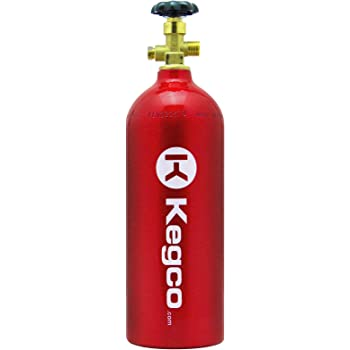 Kegco B5-RED 5 lb. Aluminum Co2 Tank with Red Finish for Kegerator and Draft Beer Dispensing