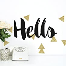RoomMates Hello Quote with Glitter Triangles Peel And Stick Wall Decals