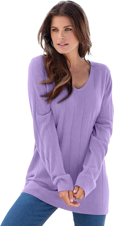 Roamans Women's Plus Size Fine Gauge Drop Needle V-Neck Sweater
