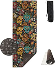 Extra Thick High Density Mexican Sugar Skulls Anti-Tear Exercise Yoga Mat With Carrying Strap