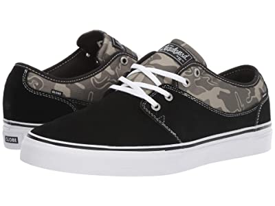 Globe Mahalo (Black Shaved Suede/Green Camo Ripstop Nylon) Men