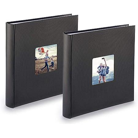 PAZZiMO Album photo noir XXL, lot de 2, collage jusqu'à 400 photos format 10x15, album traditionnel 30x30cm avec papier de protection & couverture épaisse personnalisable