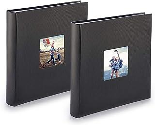 PAZZiMO Album photo noir XXL, lot de 2, collage jusqu'à 400 photos format 10x15, album traditionnel 30x30cm avec papier de...