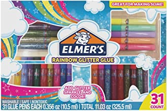 Elmer's Rainbow Glitter Glue Pen Set, Assorted Colors, 0.356 Ounces Each, 31 Count - Great For Making Slime