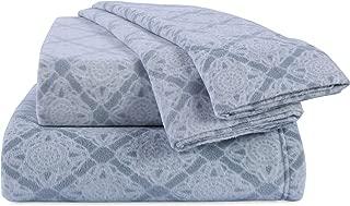 Berkshire Blanket Diamond Crochet Printed Microfleece Set Fleece Sheets, Queen, Hazy Sky