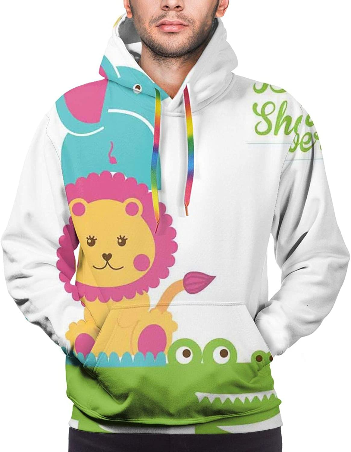 Men's Hoodies Sweatshirts,Croatian Lake Landscape in Forest with Mountain View Background Work of Art