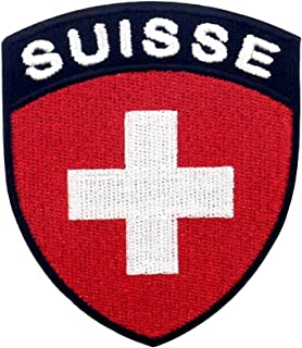 EmbTao Switzerland Flag Shield Patch Embroidered National Morale Applique Iron On Sew On Swiss Emblem