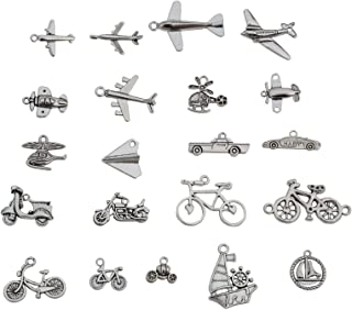 YYaaloa Pack of 60 Airplane Car Charms DIY Charms Pendant for Crafting, Jewelry Making Accessory (Airplane car 60pcs Silver)