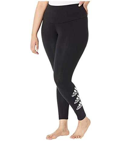 adidas Plus Size Stacked Logo Cotton Inclusive Tights (Black) Women