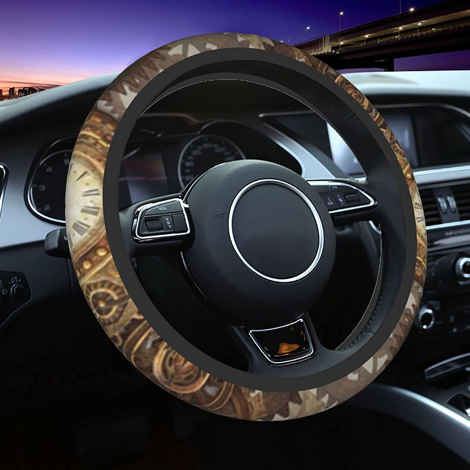 All stores are sold Steering security Wheel Covers for Abstract Steampunk Background Car