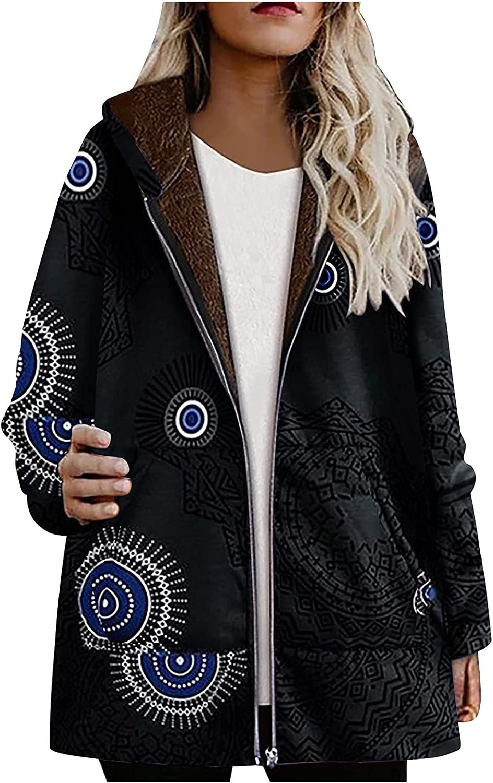 Auimank Womens Plus Size Winter Warm Printed Pockets Thicker Zipper Hooded Coat Outwear(S-5XL)