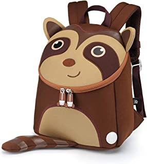 Nikizoo Toddler Backpack with Leash Lovely Kids Preschool Bag Anti-Lost Adorable 3D Cartoon Baby Backpacks with Safe Harness Coffee Little Coati