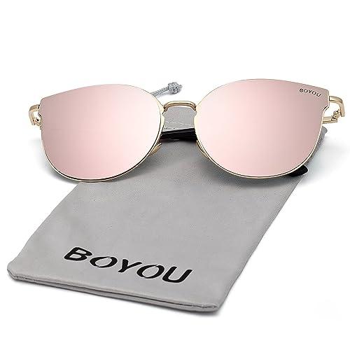 8262b7f5128 BOYOU Elegant Classic Metal Frame Unisex Aviator Sunglasses with UV 400  Protection