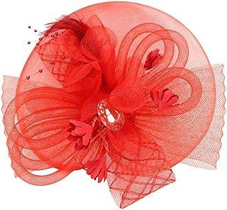 FITYLE Lady Girls Fascinator Hat Headband Veil Feather Headwear For Party Fancy Dress - Red, 18 x 15 x 7cm