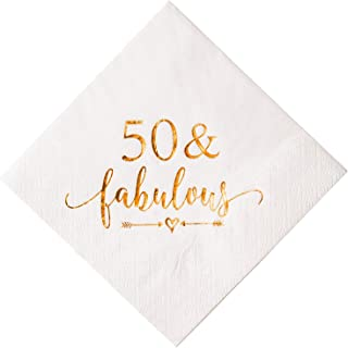 Crisky 50 and Fabulous Cocktail Napkins Rose Gold for Women 50th Birthday Decorations, 50th Birthday Bevergae Dessert Table Supplies, 50Pcs, 3-Ply