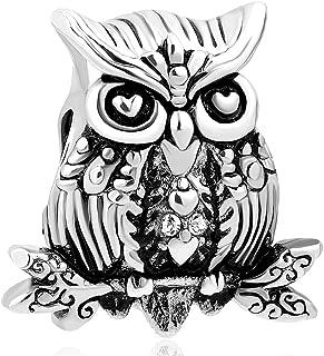 Owl Wisdom Bird Charm Bead for Snake Chain Bracelets