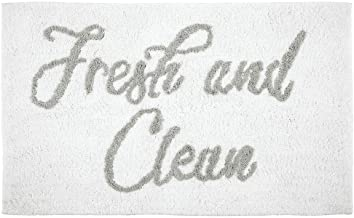 mDesign Plush, Cushioned Conversation Bath Mat Rug with Writing for Bathroom Floor - Gray/White