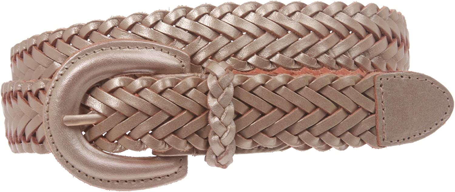 1'' Womens Braided Woven Leather Belt