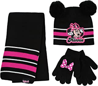 Disney girls Minnie Mouse Hat, Scarf and Mitten Or Gloves Cold Weather Set, Winter Accessory Set