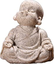 Cute Little Monk Statue Sandstone Adorable Thailand Buddha Statuettes Lovely Figurine Home Decor Creative Gift (Color : A)