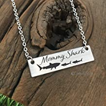 mommy shark bar necklace