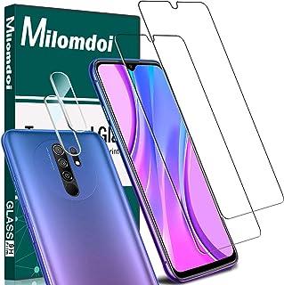 Milomdoi [4 Unidades] 2 Unidades Cristal Templado +2 Unidades Protector Cámara para Xiaomi Redmi 9, Protector Pantalla con Protector de Lente de Cámara Sin Burbujas HD [Anti-Arañazos]