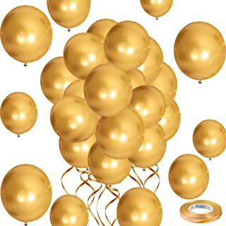 Gold Balloons Metallic Chrome Balloons, 12inch 50pcs Gold Metallic Party Balloons Birthday Helium Balloons for Birthday We...
