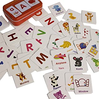 Baby Infant 56pcs Flash Card Jigsaw Cognition Puzzle Cartoon Story Alphabet Matching Cognitive Learning Early Education Card Learning Toys in a Box (Alphabet Cognition)