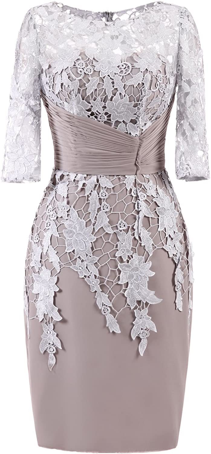 Graceprom Elegant Knee Length Mother Of The Bride Dress With 3 4 Sleeves