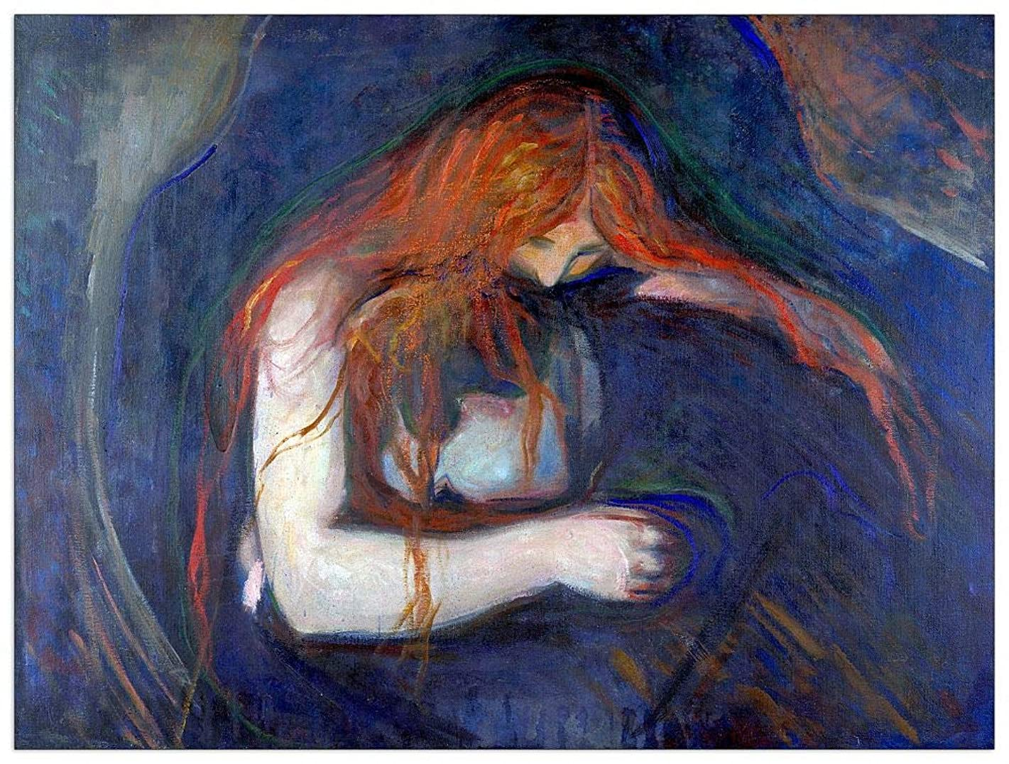 ArtPlaza TW92322 Munch Edvard-Vampire Decorative Panel, 35.5x27.5 Inch, Multicolored