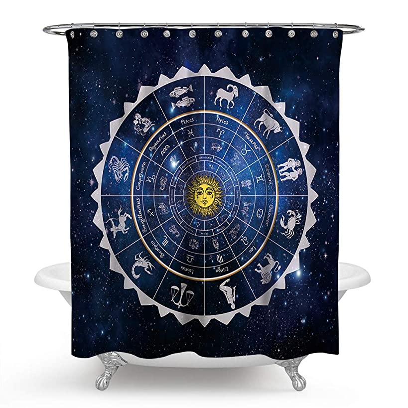 chengsan Astrology Shower Curtain, Square Shape with Inner Details Zodiac Horoscope Symbols and Constellations Art, Fabric Bathroom Decor Set (71x71 inch)