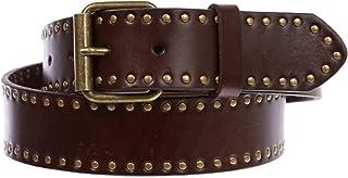 Genuine Vintage Retro Circle Studded Leather Belt - Interchangeable buckle