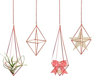 4pcs Hanging air Plant Holder, metalair Plant Hanger, Geometric Flower Pot Display with Chains, Used for Home or Office Wa...