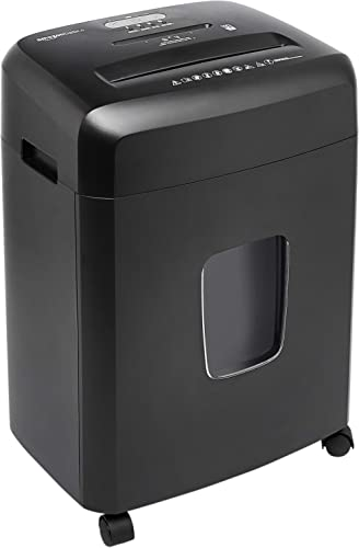 Amazon Basics 15-Sheet Cross Cut Paper and CD Office Shredder with Pull Out Basket