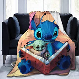 S-titch and Baby Yo-da Throw Blanket Warm and Comfortable Printing Super Light Ultra-Soft Fuzzy Micro Fleece Blanket,for A...