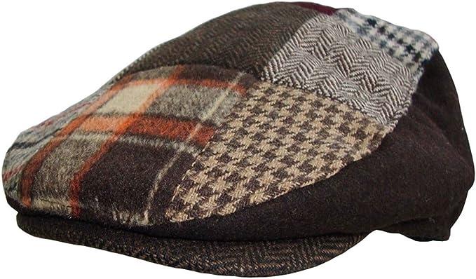 Mens Patchwork Tweed Country Flat Cap