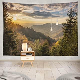 KJONG Autumn Sunrise Great Mountains Tennessee Great Forest Woods National Sunrise North Country Wilderness Park Decorative Tapestry,60X80 Inches Wall Hanging Tapestry for Bedroom Living Room