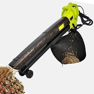 BKWJ Aspirateur/broyeur/souffleur électrique extérieur 3-en-1, 170 mi/h, souffleur de Feuilles Filaire avec roulettes, sou...