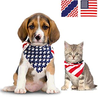 Jashem American Flag Dog Bandana USA Pet Bandanas Large Cotton Puppy Triangle Bibs Scarf Large Medium or Small Dog Collar for July 4th