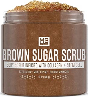 M3 Naturals Brown Sugar Scrub Infused with Collagen and Stem Cell Natural Souffle Body and Face Scrub for Acne Cellulite S...