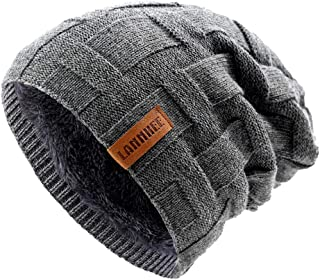 Beanie Hat for Men Winter Warm with Thick Fleece Lined Hats Knit Slouchy Thick Skull Ski Cap