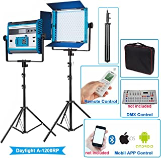 Yidoblo Daylight LED Soft Video White Light Panel Kit 5500K Adjustable by DMX/Phone App/Remote Control with Stand/Barndoors/Travel Case, Continuous Photography Lighting for Photo Studio Video Film